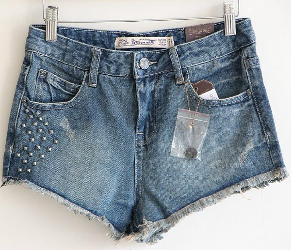 Denim rivet denim shorts