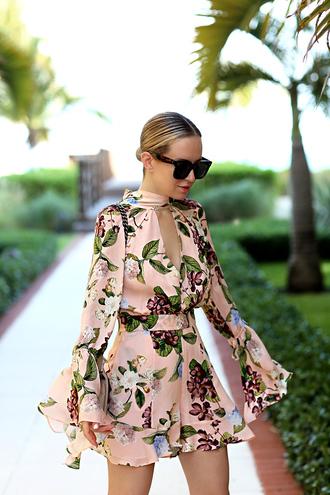 romper tumblr floral floral romper long sleeves long sleeve romper bell sleeves sunglasses v neck