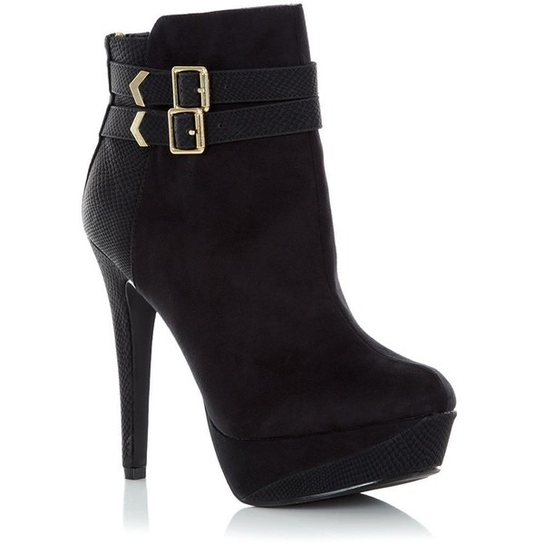 Black Buckle Heeled Ankle Boots - Polyvore