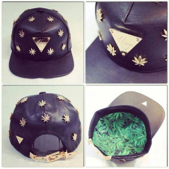 hat black snapback weed haters bling