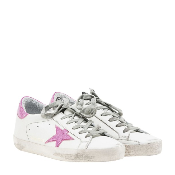 Golden goose sneakers glitter white magenta shoes