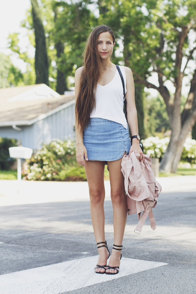 Side Slit Denim A Line Skirt | Goodnight Macaroon