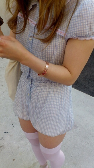 romper plaid pastel blue gingham fashion