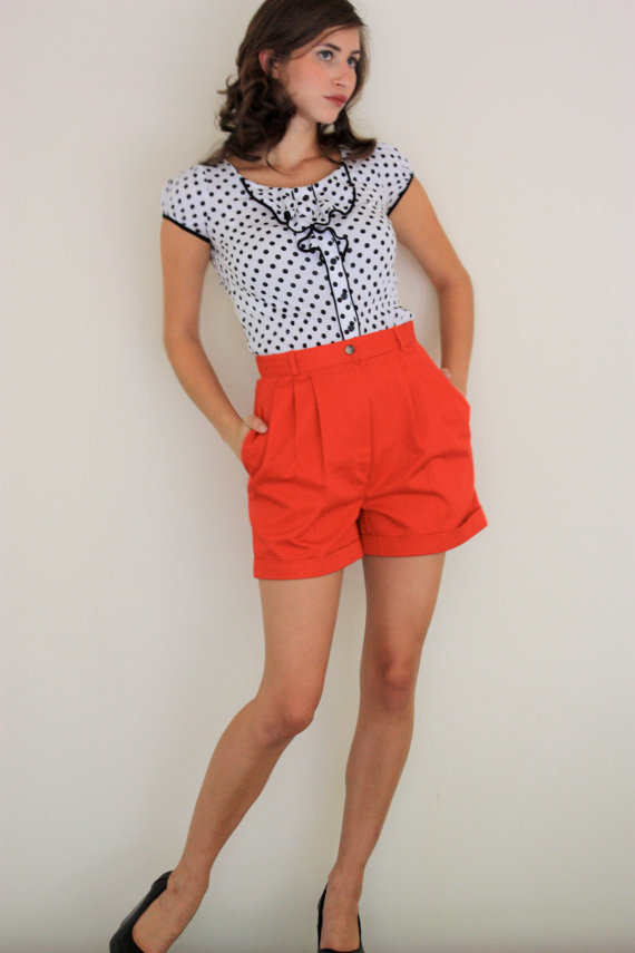 Vintage Bright Red Pleated High Waisted Stretch by SloppyJos