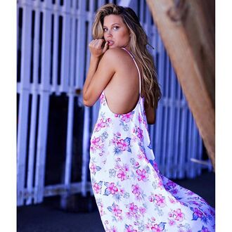 dress frankies bikini flowy dress floral long long dress floral dress white blue pink raspberry