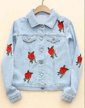jacket,denim jacket,denim,embroidered,rose,roses,red