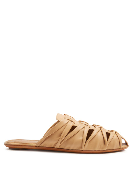 THE ROW Capri leather slides in tan