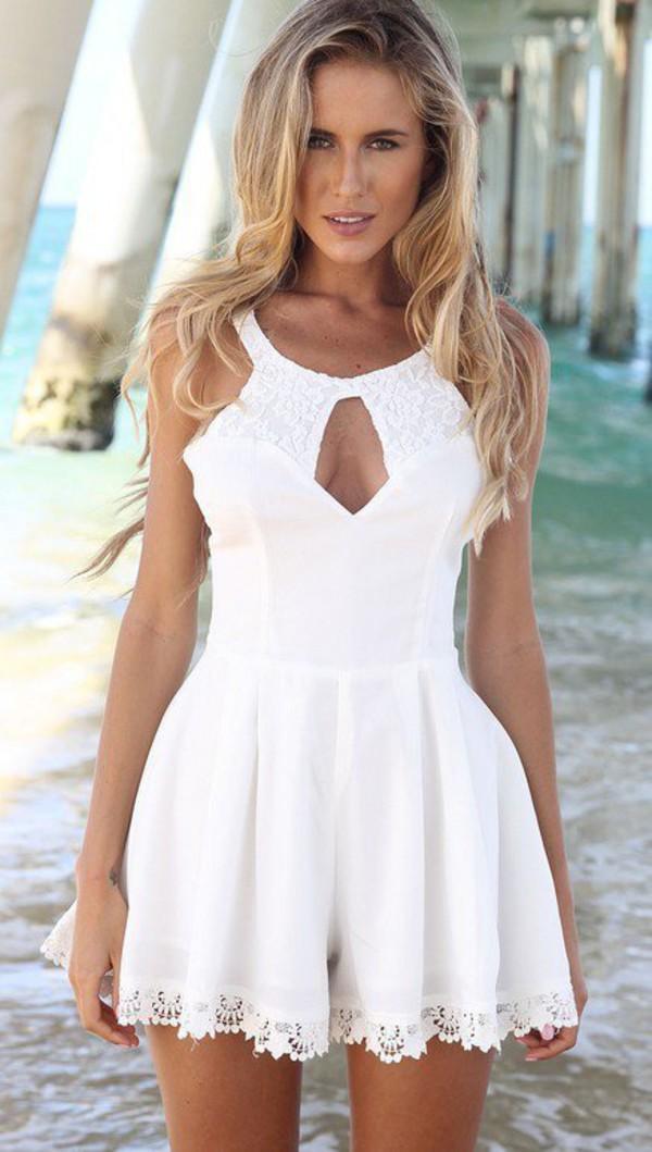 Navy blue floral bedding - White White Dress Dress Romper Nature Summer Summer Dress Lace Floral