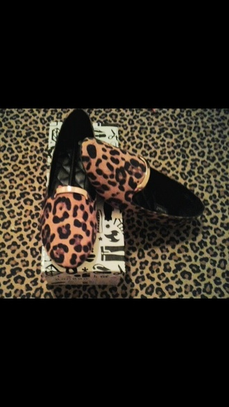 shoes loafers leopard print smoking slippers