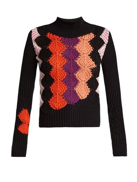 Peter Pilotto sweater cotton knit crochet navy