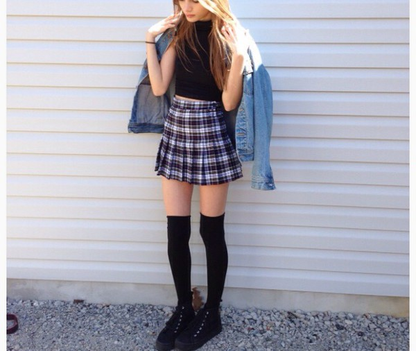 skirt purple tartan checkered jacket