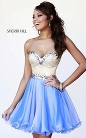 dress,dresses from sherri hill dresses,periwinkle,white,diamonds,short,ruffle,bustier,prom dress,sherri hill,party dress,blue dress