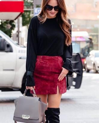 skirt tumblr mini skirt suede suede skirt top black top bag grey bag sunglasses