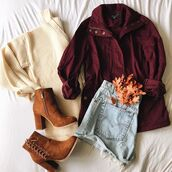 sweater,fashion,ootd,outfit,parka,trendy,cute,style,burgundy,beige,off-white,boties,booties,boots,camel,suede,levi's,inexpensive,clothes,fall outfits,fall ootd,fall style,bellexo