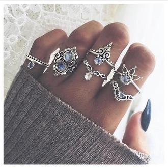jewels jewelry boho jewelry silver jewelry silver silver ring ring ring set boho boho chic bohemian