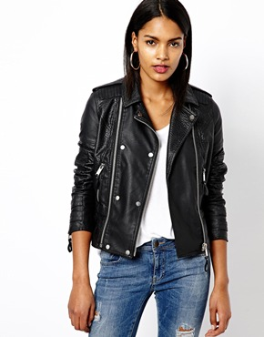 River Island | River Island Leather Look Biker Jacket at ASOS
