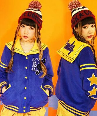 jacket japanese fashion varsity jacket sailor jacket harajuku harajuku style cute winter jacket blue jacket yellow jacket