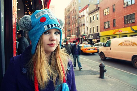 robot hat blue hat nerd