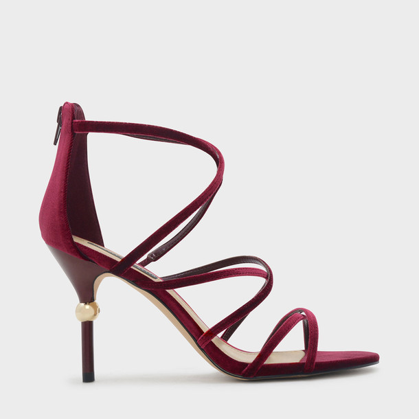 open strappy sandals red shoes