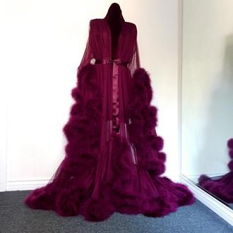 pajamas robe glamour red red robe chic coat dress robes burgundy long sleeves fur blouse