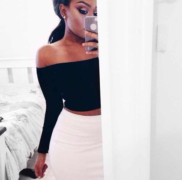 shirt crop tops top t-shirt fashion style summer top off the shoulder