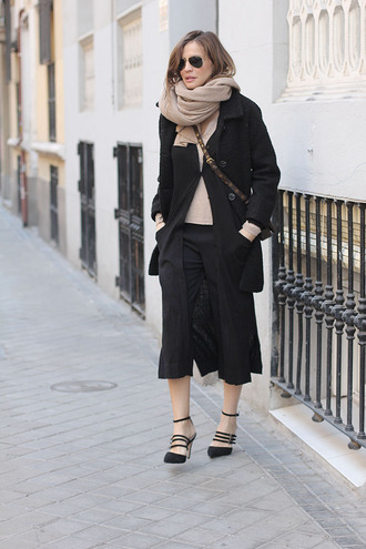 lady addict blogger coat pants sweater scarf bag shoes jeans culottes