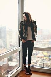 color me nana,blogger,tank top,cropped pants,lace-up shoes,faux fur jacket,jacket,jeans,shoes,jewels