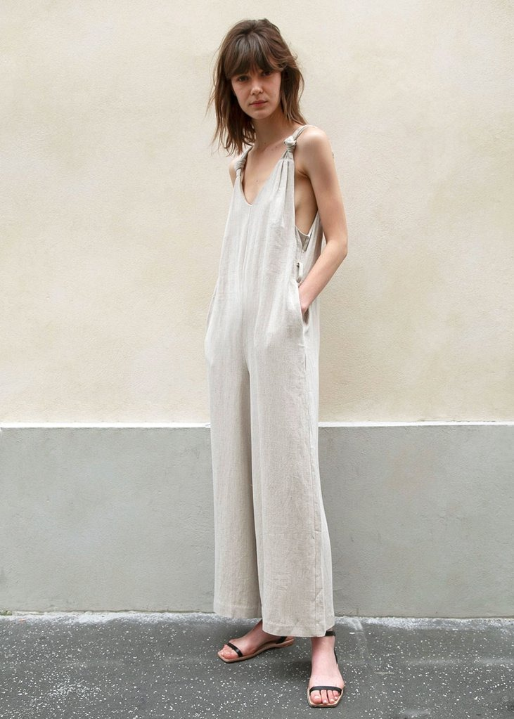 Greige Belted Jumpsuit with Knotted Straps