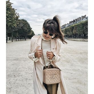 coat tumblr nude coat sunglasses top turtleneck white top bag nude bag chanel chanel bag beige coat mini bag quilted bag chain bag duster coat ruffle ponytail paris white turtleneck top