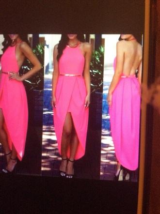 dress pink dress hot pink dress backless dress high low dress