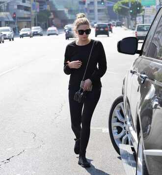 sunglasses ashley benson streetstyle all black everything leggings sweatshirt sweater