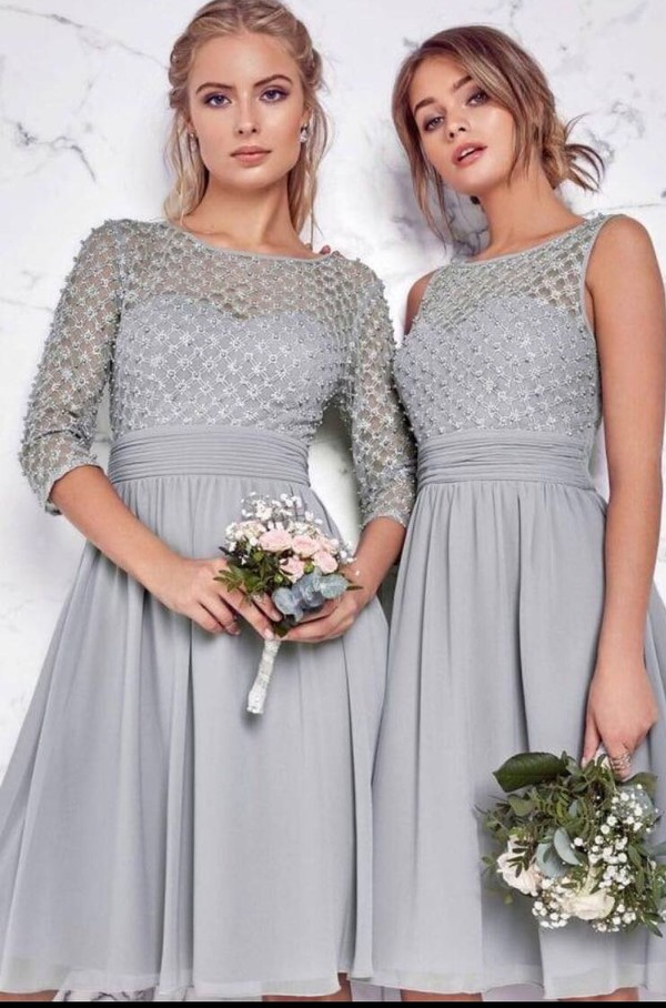 dress tea dress grey bridesmaid tea-length dress wedding clothes
