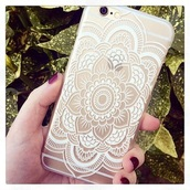 phone cover,flowers,white,gold,mandala,iphone 6 case