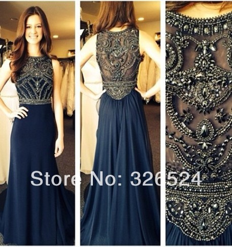 Aliexpress.com : Buy New arrival beaded see through chiffon long evening dress robe de soiree B05281 from Reliable dress universe suppliers on Dress Just For You.