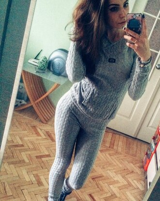 grey sweater cable knit comfy tracksuit
