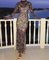 dress,blue,flowers,maxi dress,long sleeve dress
