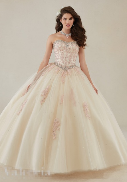 Applique Strapless Rhinestone Prom Dresses