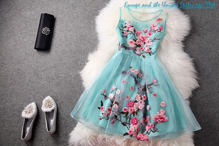 Free shipping 2014 new european and american hand  embroidered organza dress t1315 peach lady temperament