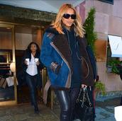 coat,fur,blue,brown,belted shearling coat,belt,ciara,shearling jacket,blue coat,suede jacket