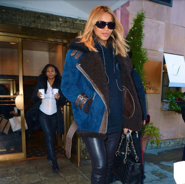 Coat: fur, blue, brown, belted shearling coat, belt, ciara ...
