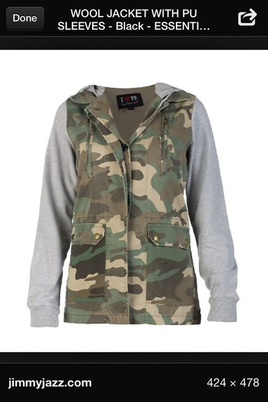 jacket zip-up camo gray long sleeve