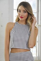 top,black and white top,black and white checkers,checkered top,www.ustrendy.com