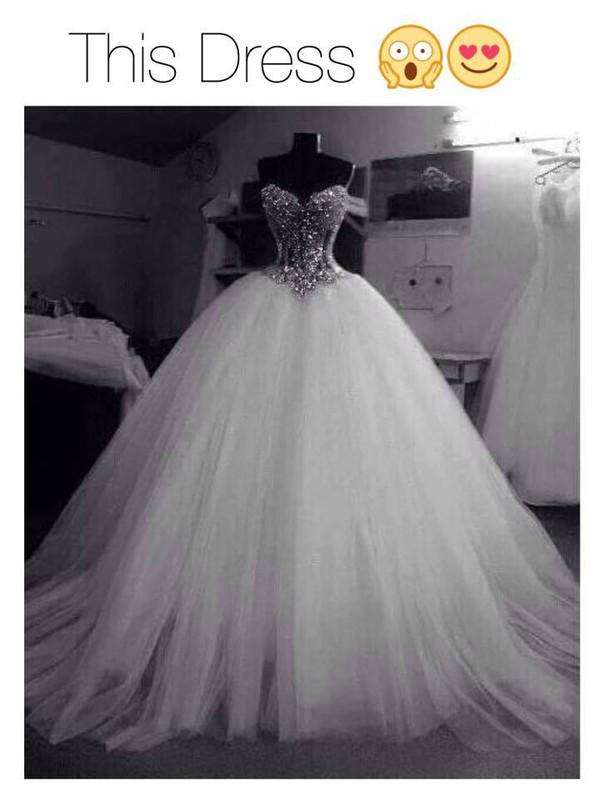 Dress Wedding Dress White Bling Beautiful Gown Love