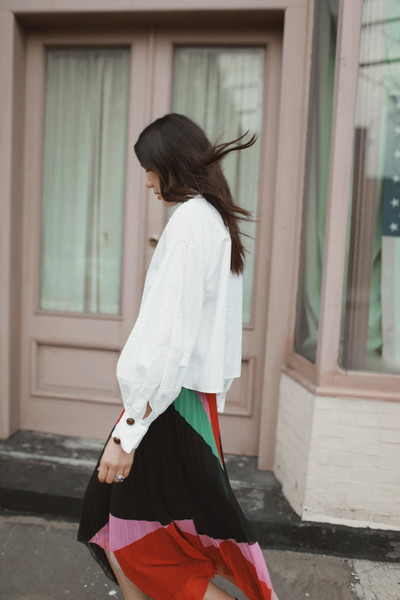 dylana suarez blogger blouse skirt multicolor skirt white shirt