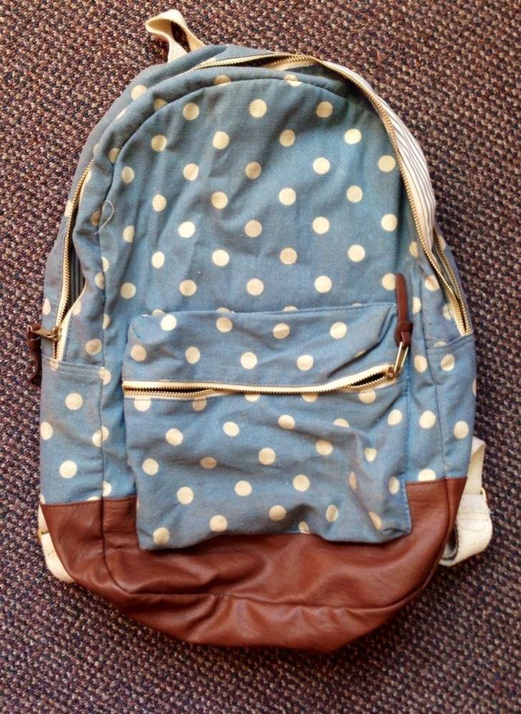 Forever 21 Polka Dot Denim Jean And Leather Brown Backpack Book Bag Travel