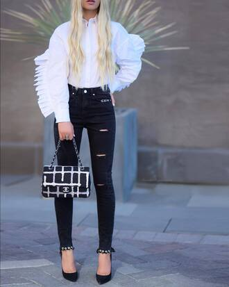 shirt white shirt black jeans tumblr denim jeans skinny jeans ripped jeans bag chanel pumps pointed toe pumps high heel pumps shoes