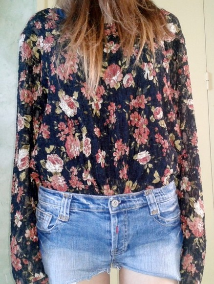 printed blouse black shirt flowers roses flowers print transparent flower printed