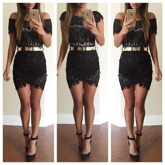 black black dress lace dress dress golden belt heels black heels long legs short dress thight dress mini dress