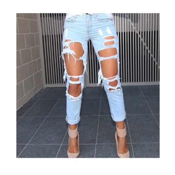 Jeans: ripped off, white wash, sexy jeans, long jeans, skinny ...