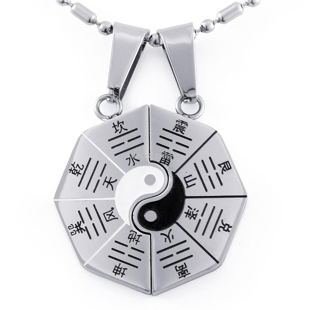 Matching yin yang bagua eight trigrams stainless steel lucky charm pendant necklace set for couples jewelry
